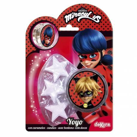 Yoyo de Ladybug avec bonbons aux arômes naturels en forme d'étoiles Poids 10gr de bonbons