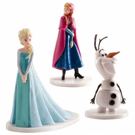 Set contenant 3 figurines en plastique La Reine des Neiges avec Elsa Anna Olaf Hauteur : 8 cm