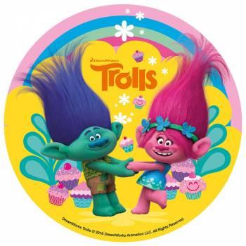 Disque en sucre 16 cm Trolls Dreamworks
