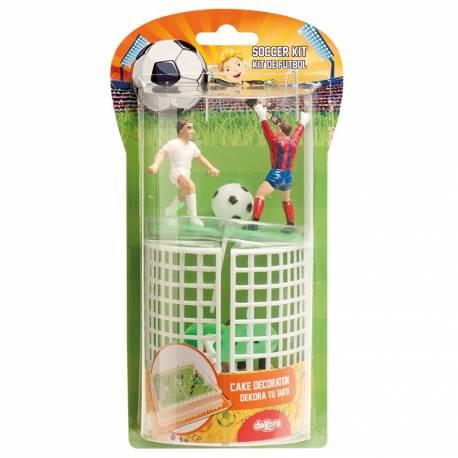 Kit figurines en plastiques pour décorer vos gâteaux en forme de terrain de foot Le kit comprend: - 4 joueurs - 2 goals - 1 arbitre - 1...