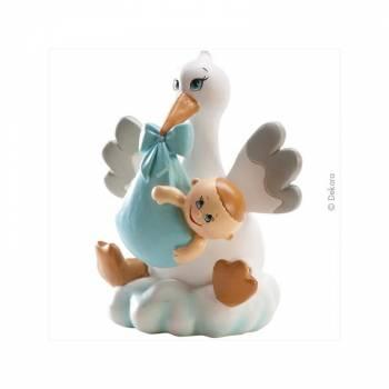 Figurine baptême Cigogne assise bleu