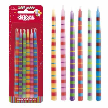 Paquet de 12 bougies colorées Taille: 13 cm