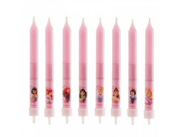 Bougies anniversaire Princesses Disney avec bobêches pour deco de gâteau