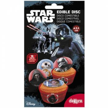 16 Mini disques en sucre Star wars