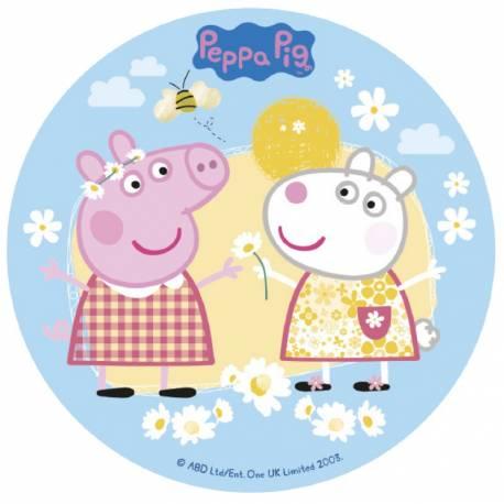 Disque sucre Peppa Pig comestible pour la déco de vos gâteaux anniversaires.Diamètre 16 cmPeut être conservé 6 mois après la réception...