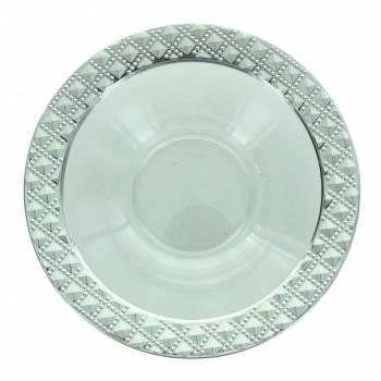 5 Bols transparent plastique diamant liseré argent 12.5cm
