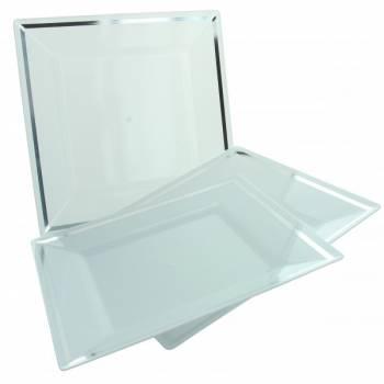 5 Assiettes blanche plastique liseré argent 24cm