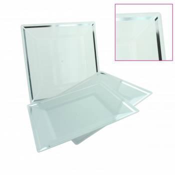 5 Assiettes blanche plastique liseré argent 20cm