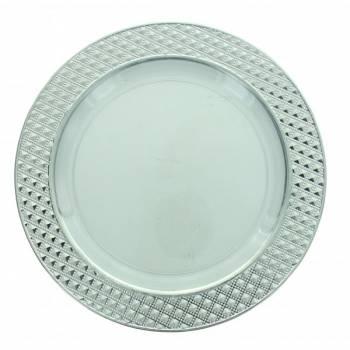 5 Assiettes transparente plastique diamant liseré argent 19cm