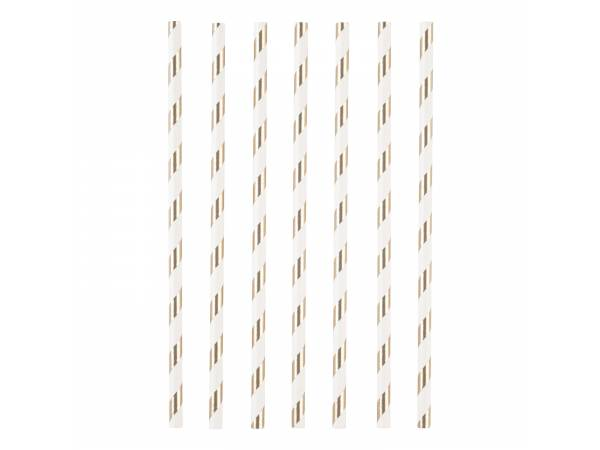 pailles en papier à rayures de couleur or metallisé