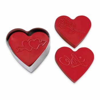 Kit 3 Emporte pièces tampons Coeur