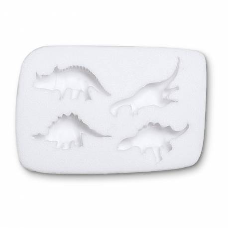 Moule à modelage Dinosaure pour pâte à sucre en silicone, composé de 4 cavités en forme de Dinosaure.