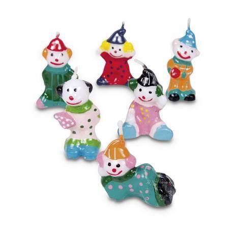 Lot 6 Bougies Clown pour créer une belle décoration d'anniversaire à thème à votre enfant. Dim: 4 cmde haut, largeur: 3 cm