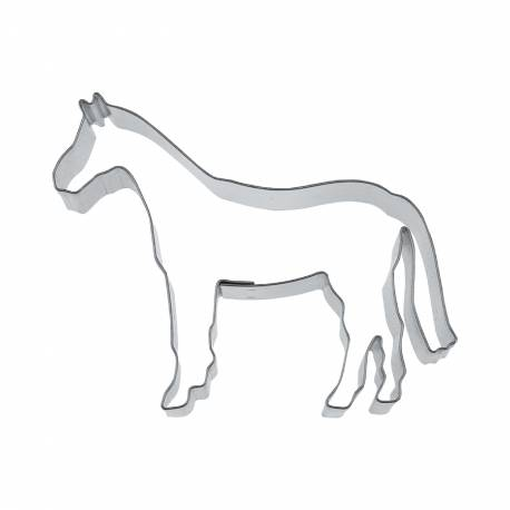 Emporte pièce en forme de cheval pour créer vos deco de gâteau en pâte à sucre et vos biscuits. Dimension:6 cm x 4 cm xH.2 cm