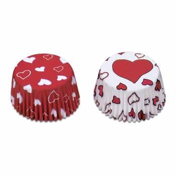 50 Mini caissettes coeurs rouge et blanc