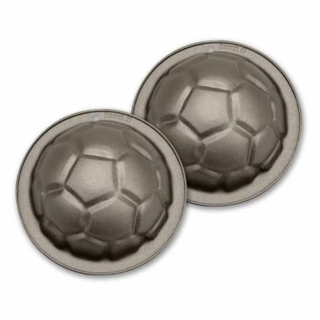 Kit de 2 mini moules à gâteau Ballons de foot antiadhésif pour faire vos gâteaux d'anniversaires football. Ø8 cm Haut : 4.5cm