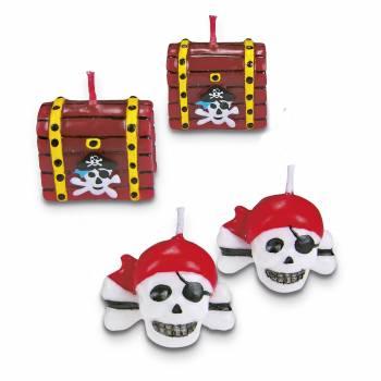Lot 4 Bougies Pirate pour gâteau
