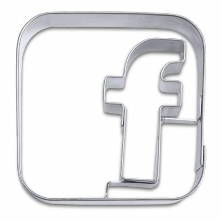 Emporte pièce en inox en forme de logo application facebook Dimensions: 5 cm x 5 cm x H.2 cm