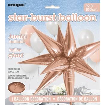 Ballon hélium jumbo étoile 3D rose gold