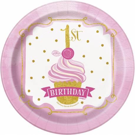 8 Assiettes dessert en carton Happy Birthday 1 an princesse Couleur rose et or Dimensions : Ø 18 cm