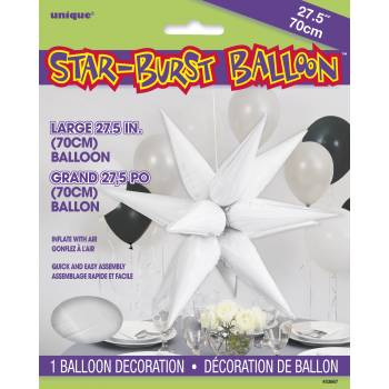 Ballon hélium large étoile 3D blanc