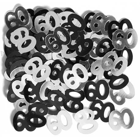 Confettis metallique 60 ans à parsemer Poids : 14 gr Parfait pour la deco de votre fête ou anniversaire.