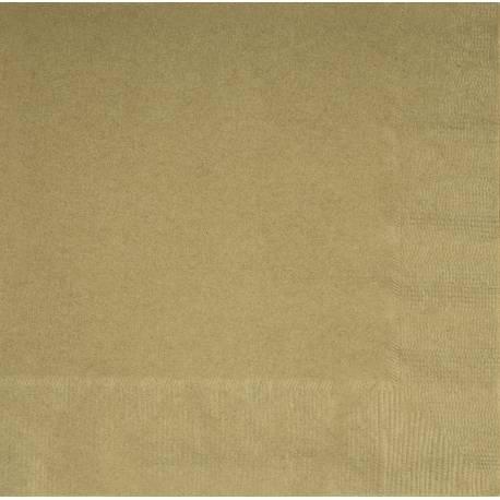 20 Serviettes en papier or 33 cm x 33 cm