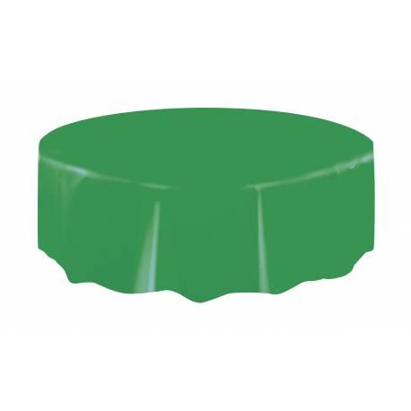 Nappe ronde en plastique verte A usage éphémère Ø 213 cm