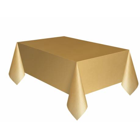 Nappe en plastique rectangle or mat Dimensions : 275 cm x 140 cm