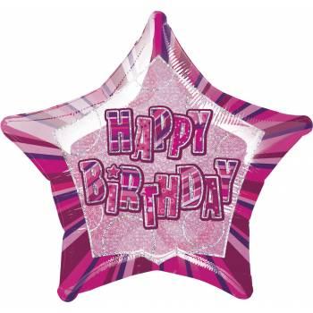 Ballon Star Pink Happy Birthday