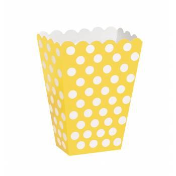 8 Boites pop corn pois jaunes