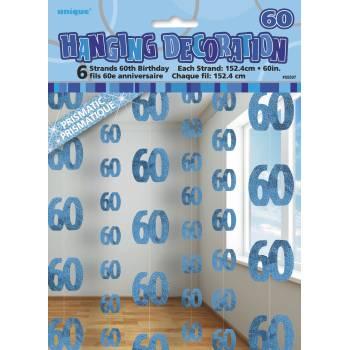 6 Guirlandes fils 60 ans Bleu