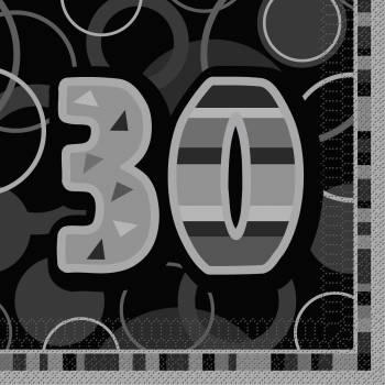16 Serviettes 30 ans Black/White