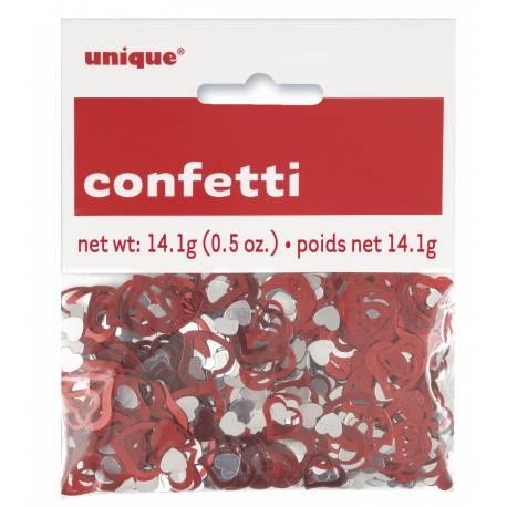 Confettis de table métallique coeur rouge et argent Poids : 14gr