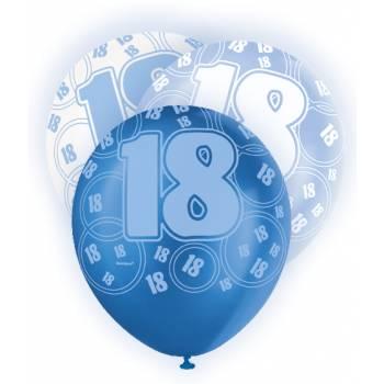 6 Ballons bleu/blanc 18 ans