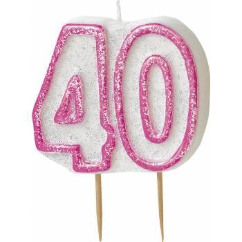 Bougie 40 ans Pink pailleté