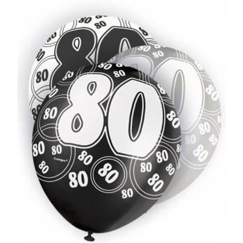 6 Ballons noir/blanc/gris 80 ANS
