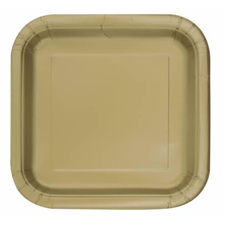 Paquet de 14 assiettes en carton or Dimensions : 23 cm x 23 cm