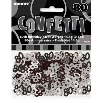 Confettis metallic 80 ans Black/White