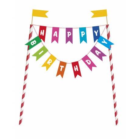 Décoration fanion Rainbow a planter dans votre gâteau d'anniversaire. Dimensions: 15 cm x 20 cm