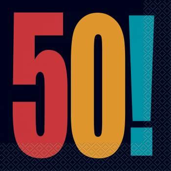 16 serviettes anniversaire 50 ans