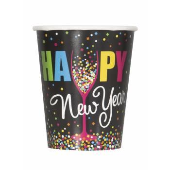 8 Gobelets Happy New year confettis
