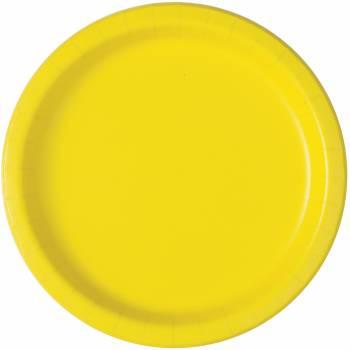 16 Assiettes en carton rondes fluo jaune