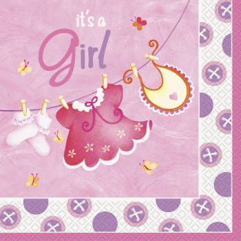 16 Serviette Baby style rose