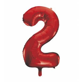 Ballon géant chiffre 2 rouge