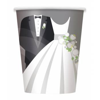 8 gobelets mariage romantique