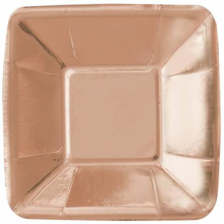 8 coupelles apéro en carton brillant métallisé rose gold Dimensions: 12cm x 12cm