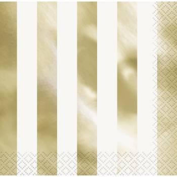 16 Serviettes à rayures or métallisés