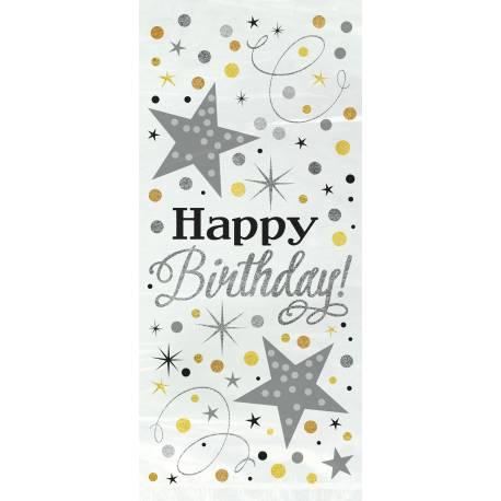 20 Sachets cello thème Happy Birthday pétillant or/argent Dimensions : 28 cm x 13 cm Parfait pour la deco de votre fête ou anniversaire.
