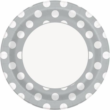 8 Assiettes en carton grise à pois blanc Dimensions : Ø23 cm